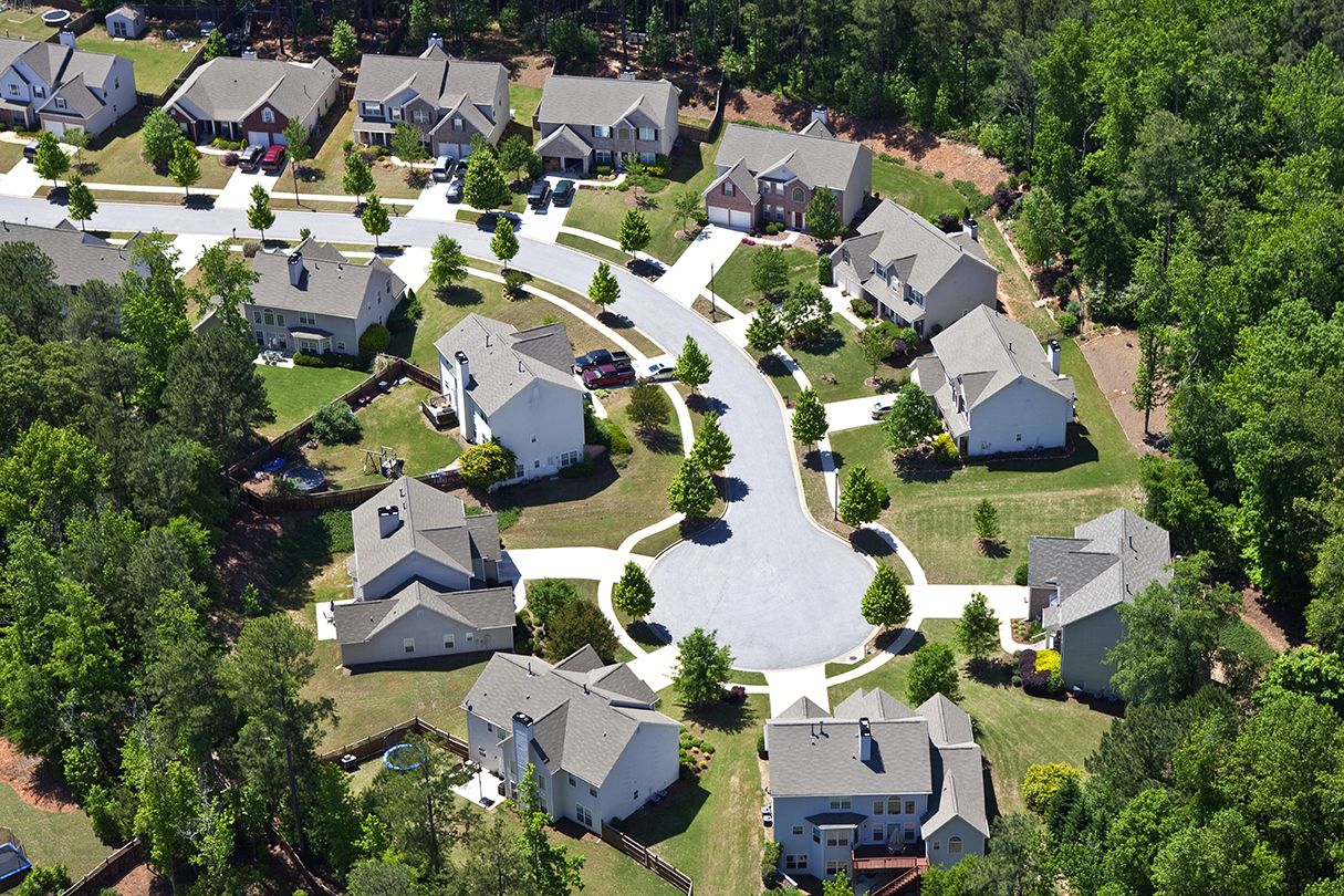 Aerial view of a modern middle class neighborhood in the southeastern USA.